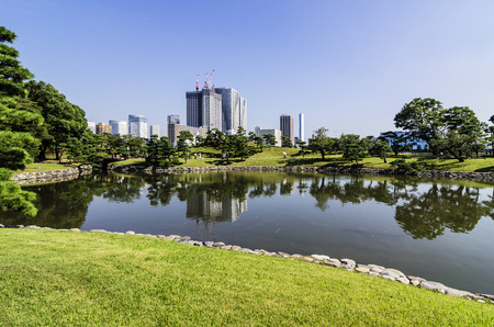 Japan, Tokyo, Sumida District, high-rise residential buildings, Sumida river and park