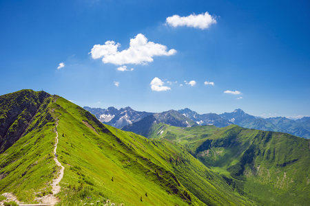 Austria, Tyrol, Allgaeu Alps, Fellhorn mountain, hiking trail from Soellereck to Fellhorn