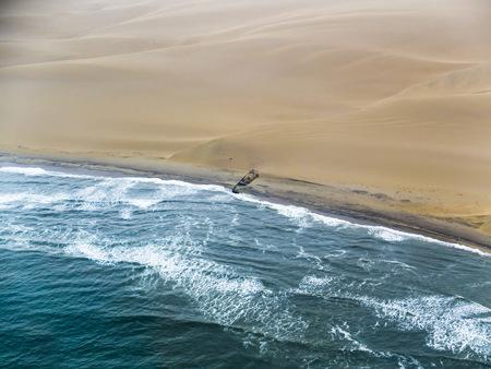 Namibia, Walvis Bay, Atlantic meets Namib Desert, aerial view LANG_EVOIMAGES