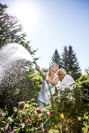 Smiling mature woman watering flowers in garden with man kissing her shoulder