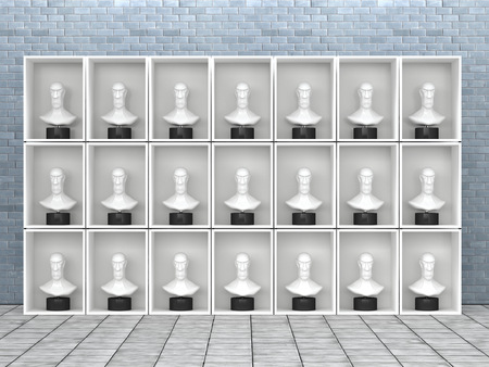 conformance: Identical busts in shelf, 3D Rendering