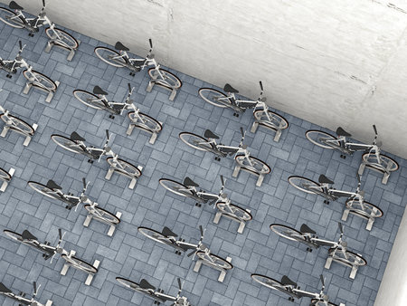 conformance: Parked electric bicycles in a backyard, 3D Rendering LANG_EVOIMAGES