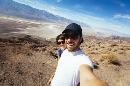 Selfie of a couple in the Death Valley in California
