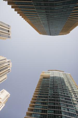 UAE, Dubai, view to skyscrapers from below