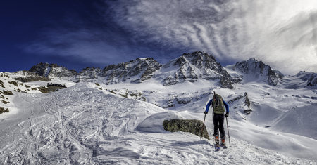 mountaintops: Italy, Gran Paradiso, skiing into the Chabod hut