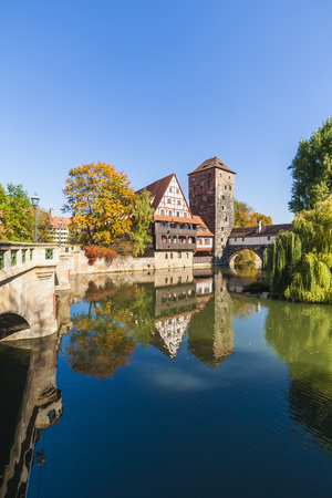 Germany, Bavaria, Nuremberg, Old town, Max bridge, Weinstadel, Water tower and Pegnitz river