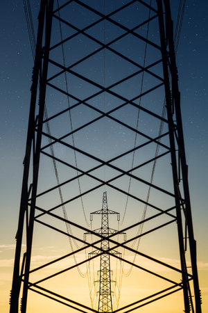 conformance: Austria, Braunau am Inn District, power pylons in the evening