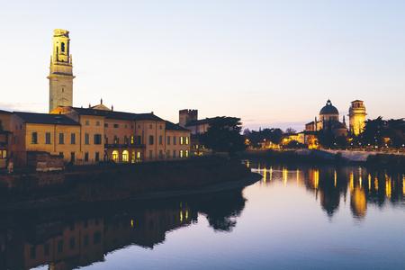 lighted: Italy, Verona at night in winter