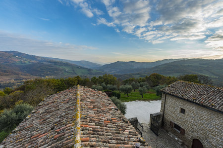 Italy, Umbria, Gubbio, View from Eremitage San Pietro in Vigneto