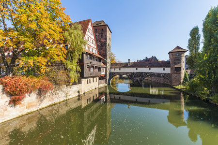 Germany, Bavaria, Nuremberg, Old town, Weinstadel, Water tower and Pegnitz river