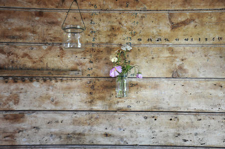 decorating: France, Bretagne, typical decoration on wooden wall, flower in glass