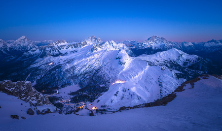 panoramas: Italy, South Tyrol, Dolomites, Lagazuoi in the evening