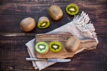 interiour shots: Chopped kiwi on chopping board