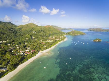 Seychelles, Praslin, Anse Volbert, Anse Volbert Village, Chauve Souris Island and Curieuse Island, aerial shot LANG_EVOIMAGES