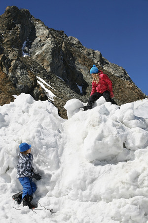 snowcovered: Italy, Alto Adige, two children playing in the snow