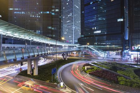 lighted: China, Hong Kong, Traffic at night in Central Hong kong