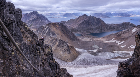 roped: Greenland, Kulusuk, Mountaineers in the Schweizerland Alps