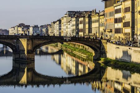 Italy, Tuscany, Florence, Arno River and Ponte Santa Trinita