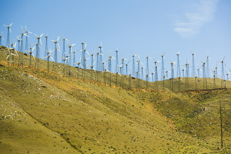 nevada: USA, Nevada, wind turbines on hill LANG_EVOIMAGES