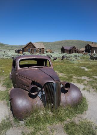 USA, California, rusty car in Bodie Ghost Town