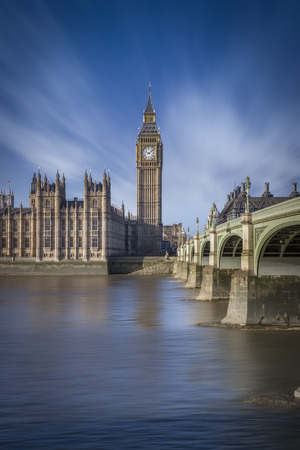 gothic revival: UK, London, view to Big Ben, Westminster Bridge and Palace of Westminster