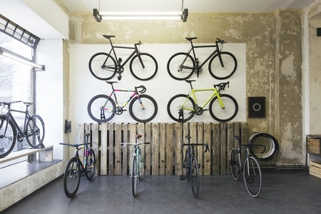 shop window: Assortment of racing cycles in a custom-made bicycle store