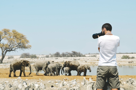 man drinking water: Namibia, Etosha National Park, photographer taking pictures of elephants near a waterhole