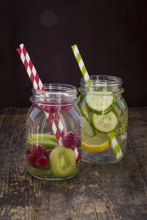 cucumis sativus: Two glasses of infused water with different tastes