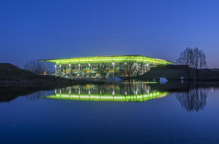 Germany, Wolfsburg, Football stadium at night