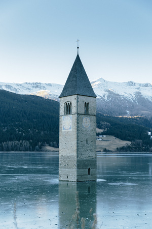 the sunken: Italy, Venosta Valley, Sunken spire in frozen Lago di Resia