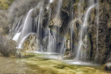 mancha: Spain, Cuenca, Waterfall at River Cuervo LANG_EVOIMAGES