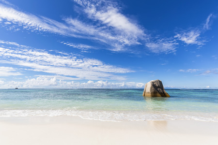 Seychelles, La Digue, Anse Source DArgent, Granite rock on beach LANG_EVOIMAGES