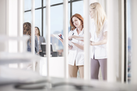 Women in office looking at documents LANG_EVOIMAGES
