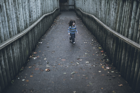Boy walking on path between high wooden poles LANG_EVOIMAGES