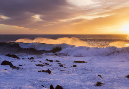 Spain, Canary Islands, La Gomera, Valle Gran Rey, surf at sunset LANG_EVOIMAGES