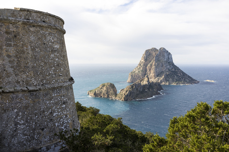 vedra: Spain, Ibiza, old pirate tower near Es Vedra LANG_EVOIMAGES