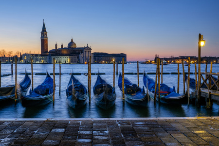 stakes: Italy, Venice, view to San Giorgio Maggiore at morning twilight