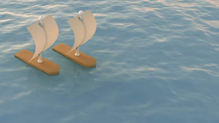 3D Rendering, two sailing boats