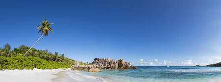 Seychelles, La Digue, Indian Ocean, Anse Cocos, Panoramic view of beach LANG_EVOIMAGES