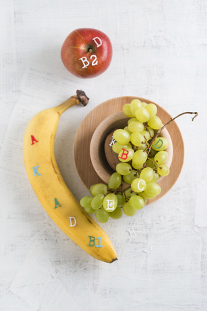 vitamin rich: Banane, apple and green grapes, different vitamins