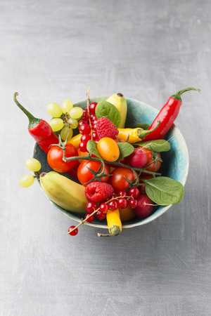 Bowl of different fruits and vegetables