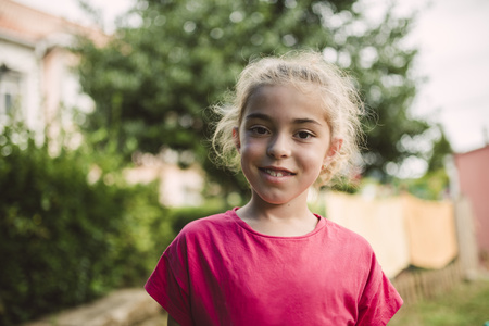 likeable: Portrait of smiling blond girl