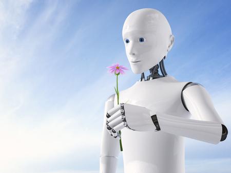 3D Rendering, Roboter holding flower LANG_EVOIMAGES