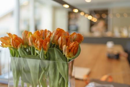 Flower vase of parrot tulips in a modern living room