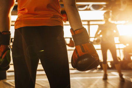 tough: Two female boxers in ring