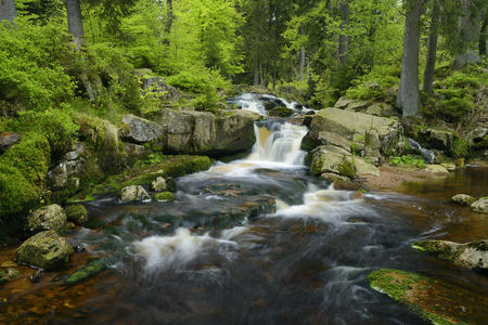 bode: Germany, Lower Saxony, Harz, Waterfall of the mountain stream Warme Bode, Lower Bodefall LANG_EVOIMAGES