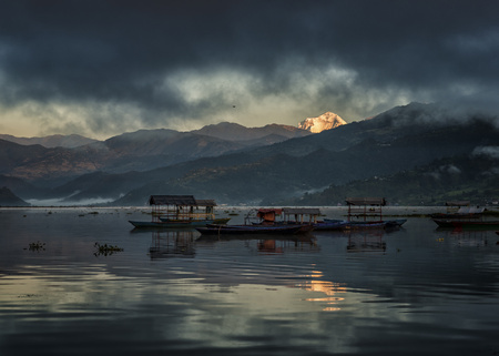 phewa: Nepal, Annapurna, Pokhara, Phewa Lake with boats in the evening