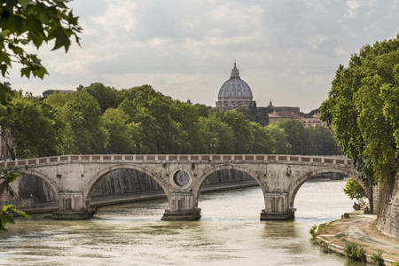 Italy, Lazio, rome, Ponte Sisto over Tiber river, cupola of St. Peters Basilica