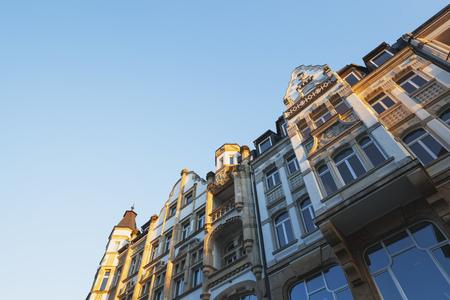 Germany, Leipzig, Bel Epoque facades at Barfussgaesschen