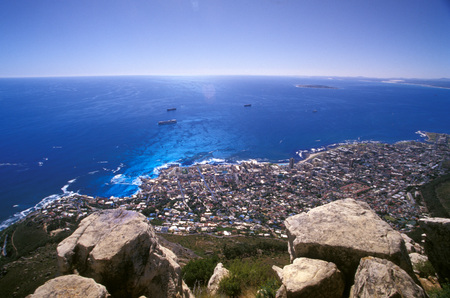 robben island: Clifton Bay, Bantry Bay, Robben Island And Sea Point Seen From Lions Head, Capetown, Western Cape, South Africa